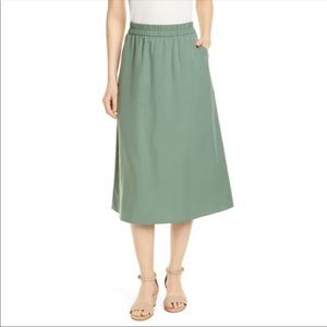 Eileen Fisher Tencel Midi Skirt Green Nori NWOT